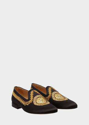 Versace Embroidered Gold Hibiscus Satin Loafers
