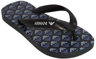 Armani Junior ロゴプリント ラバービーチサンダル
