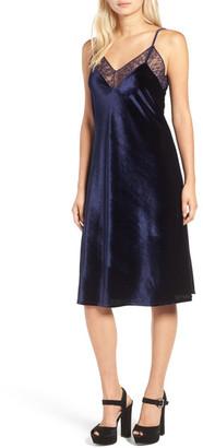 Ten Sixty Sherman Lace Trim Velvet Slipdress $58 thestylecure.com