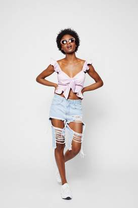 boohoo Tie Front Frill Strap Top