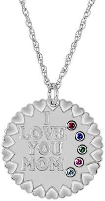 FINE JEWELRY Personalized I Love You Mom Birthstone CZ Pendant Necklace