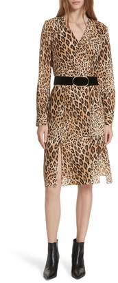 Frame Sgt. Pepper Leopard Print Silk Dress