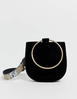 Urban Code Urbancode real leather belt bag with snake belt and ring detail