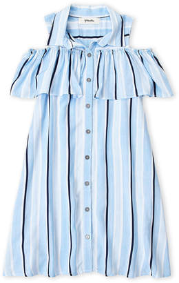 Maddie (Girls 7-16) Cold Shoulder Flounce Stripe Shirtdress