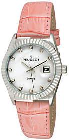 Peugeot Women's Silvertone Coin Bezel Pink Leather Watch