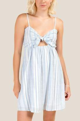 francesca's Leah Striped Tie Front Dress - Chambray