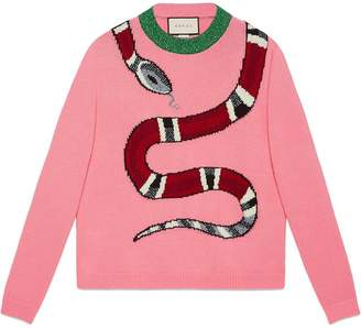 Gucci Kingsnake wool knit sweater