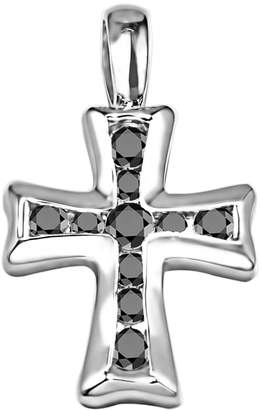 Silver Cross TwoBirch Silver Pendant with Chain Charm set with Diamonds (0.5 ct. twt.) with Diamonds (0.5 ct. twt.)