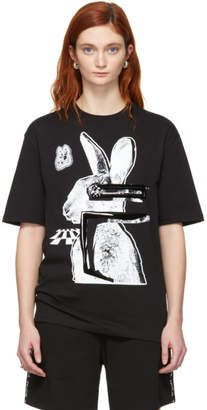 McQ Black and White Glitch Bunny Boyfriend T-Shirt