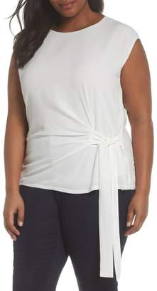 Vince Camuto Side Tie Mixed Media Top