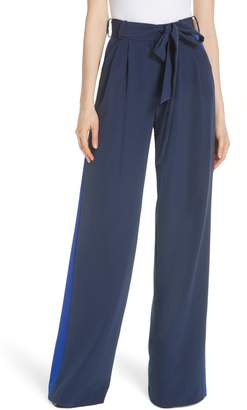 Milly Natalie Italian Cady Side Stripe Wide Leg Pants