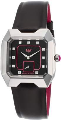 Matthew Williamson Lsm33001-04 Women's Genuine Leather And Dial Silver-Tone Base Metal Watch