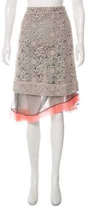 Michael Van Der Ham Silk-Blend Crochet Skirt w/ Tags