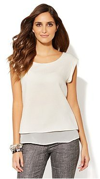 New York & Co. Textured Short-Sleeve Blouse