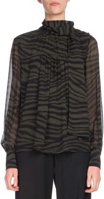 Proenza Schouler Tie-Neck Long-Sleeve Tiger-Print Chiffon Blouse
