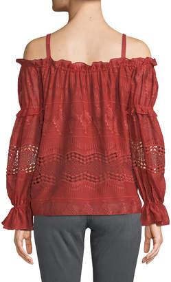 BCBGMAXAZRIA Crochet Embroidered Cold-Shoulder Top