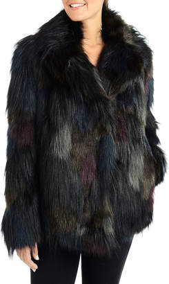Rachel Roy Multicolor Faux-Fur Notched-Collar Coat