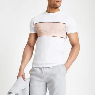 River Island White 'Maison Riviera' muscle fit T-shirt