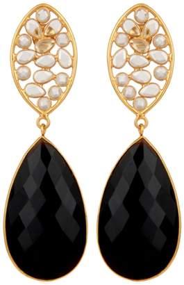 Carousel Jewels - Crystal & Black Onyx Drop Earrings