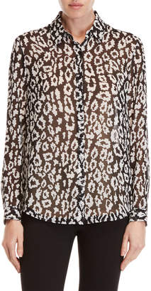 The Kooples Leopard Print Chiffon Blouse