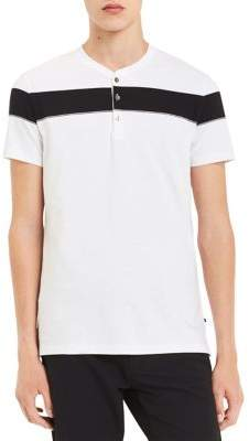 Calvin Klein Short-Sleeve Engineered Chest Stripe Cotton Henley