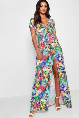 boohoo Tall Floral Print Tie Front Maxi Dress
