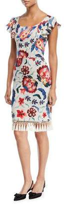 Sachin + Babi Hemuskudar Floral Tassel Short-Sleeve Cocktail Sheath Dress