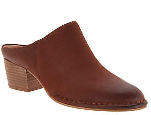Clarks Leather Block Heel Mules - Spiced Isla