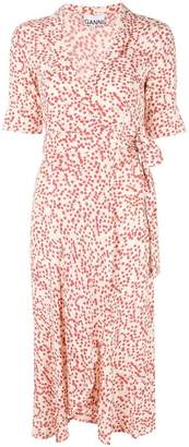 Ganni printed wrap dress
