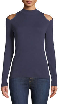 MICHAEL Michael Kors Mock-Neck Cutout-Shoulder Long-Sleeve Metallic-Knit Sweater