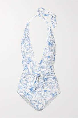 Tory Burch Tie-detailed Printed Halterneck Swimsuit - Blue