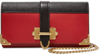 Prada Cahier Two-tone Leather Shoulder Bag - Red