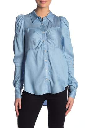 Veronica Beard Candice Pouf Sleeve Button Up