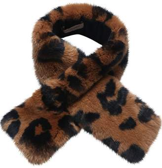 Yves Salomon Enfant PRINTED RABBIT FUR SCARF