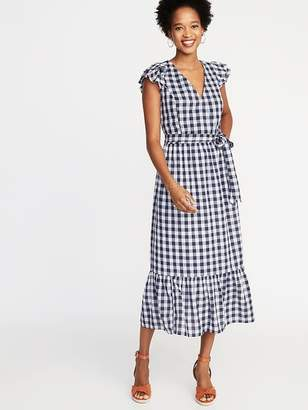 8043546630b Old Navy Waist-Defined Wrap-Front Gingham Midi for Women
