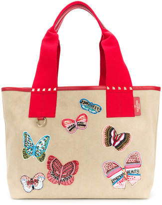 Valentino Rockstud butterfly embroidered tote