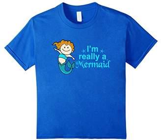 I'm Really a Mermaid Girls Fun Saying Novelty T Shirt Top
