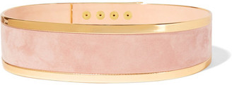 Balmain - Metallic Leather-trimmed Suede Waist Belt - Pastel pink $985 thestylecure.com