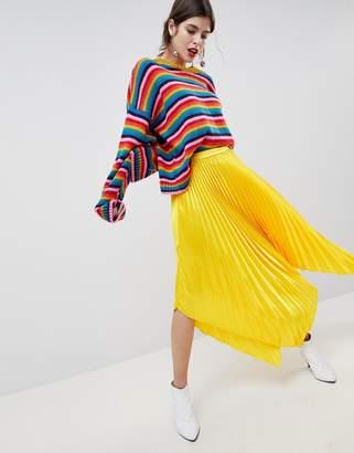 Asos Design DESIGN satin pleated midi skirt with hanky hem