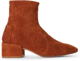 Stuart Weitzman Caramel Accordion Suede Booties