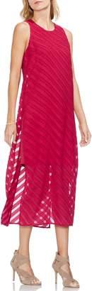 Vince Camuto Diagonal Stripe Chiffon Maxi Dress