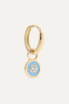 Alison Lou Huggy 14-karat Gold, Enamel And Diamond Earring
