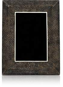 """R & Y Augousti Shagreen-Covered Wood 4"""" x 6"""" Picture Frame-Antique Black"""
