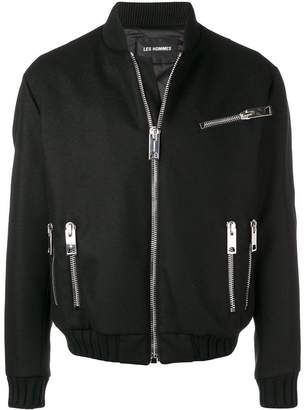 Les Hommes oversized zip bomber jacket
