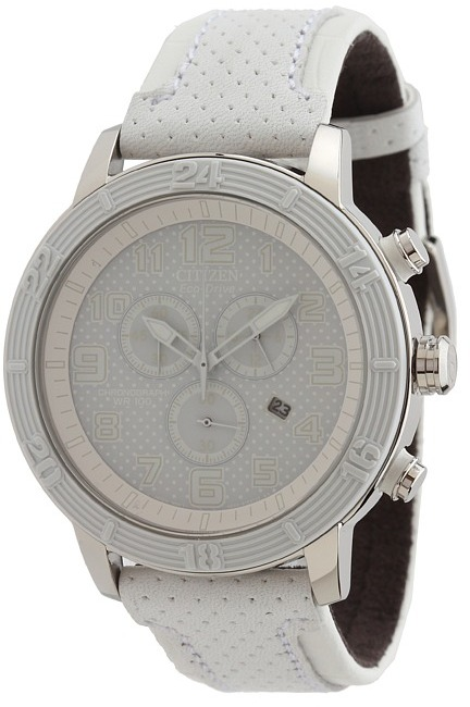 Citizen AT2200-04A Drive from Eco-Drive BRT 3.0 Chronograph Watch (White Stainless Steel) - Jewelry