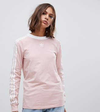 adidas Three Stripe Long Sleeve T-Shirt In Pink