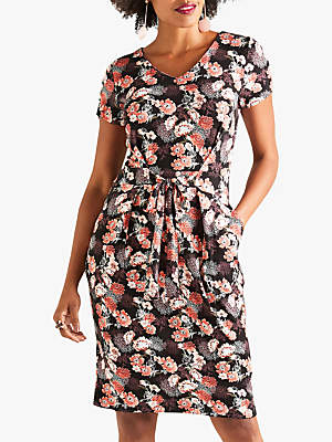 Yumi Floral Jersey Dress, Black Floral