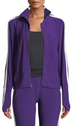 Norma Kamali Side-Stripe Turtleneck Track Jacket