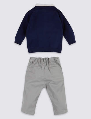 Marks and Spencer 2 Piece Mock Shirt Jumper & Trousers Outfit