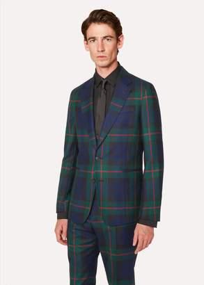 Men's Tailored-Fit Navy, Green And Red Tartan Wool Blazer